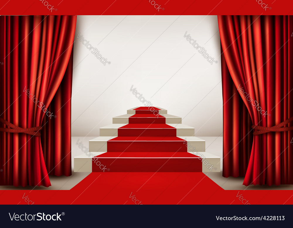Showroom with red carpet leading to a podium with vector | Price: 1 Credit (USD $1)