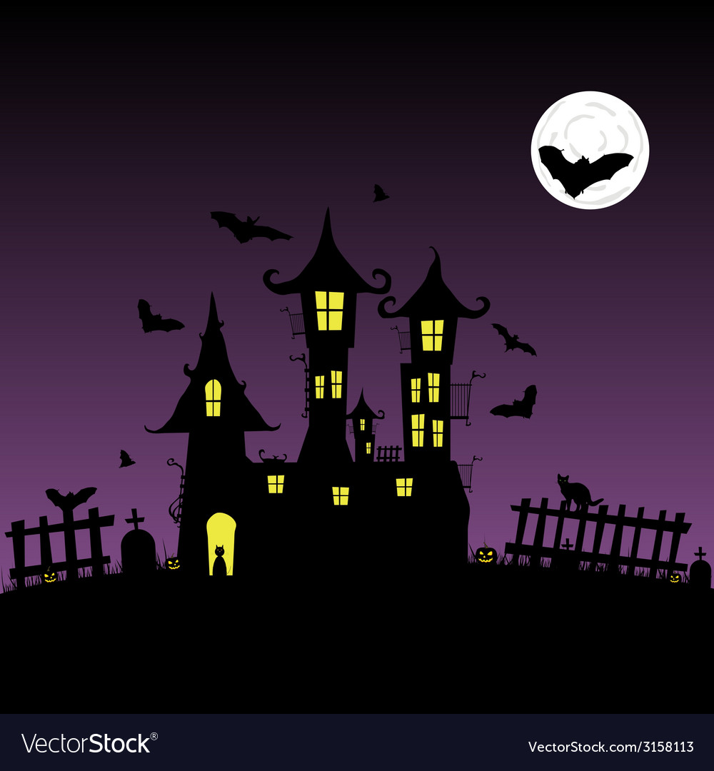 Sweet and beauty castle with bats part two vector | Price: 1 Credit (USD $1)