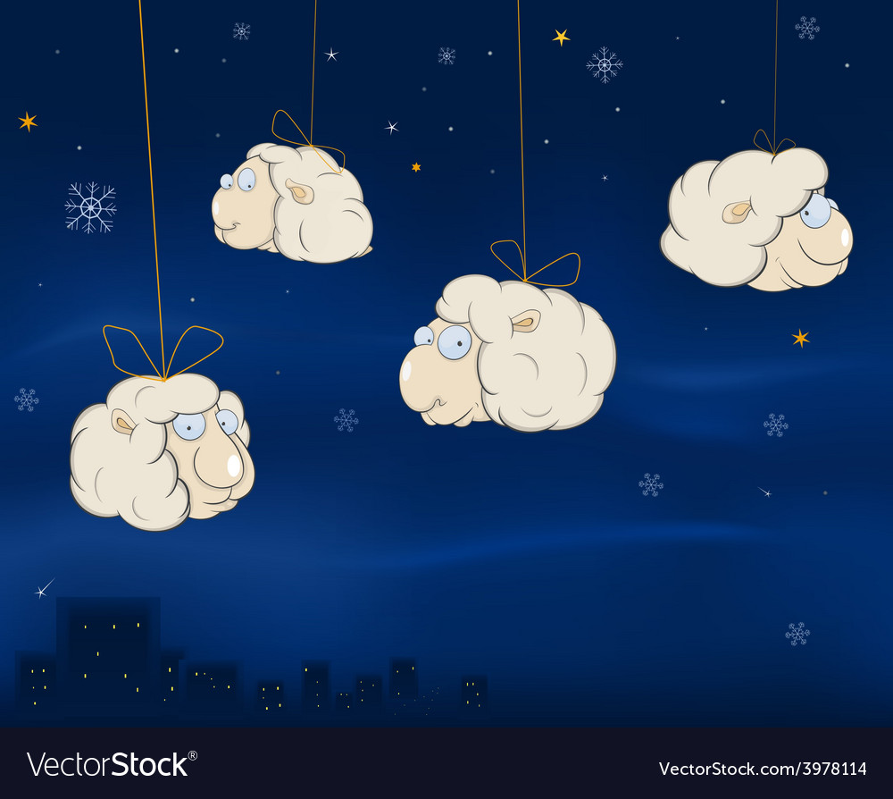 A christmas card with a cheerful lambs cartoon vector | Price: 1 Credit (USD $1)