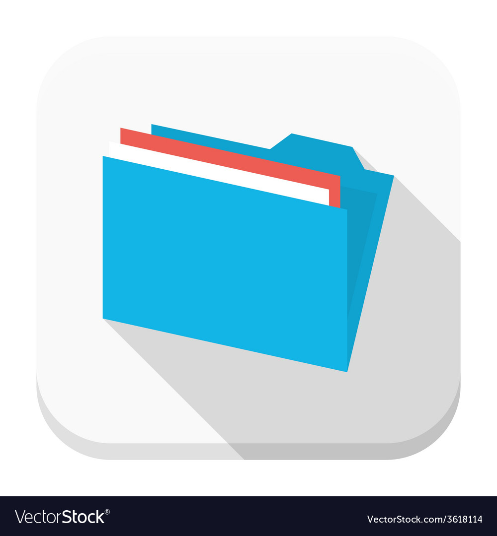 Blue folder with paper flat app icon with long vector | Price: 1 Credit (USD $1)