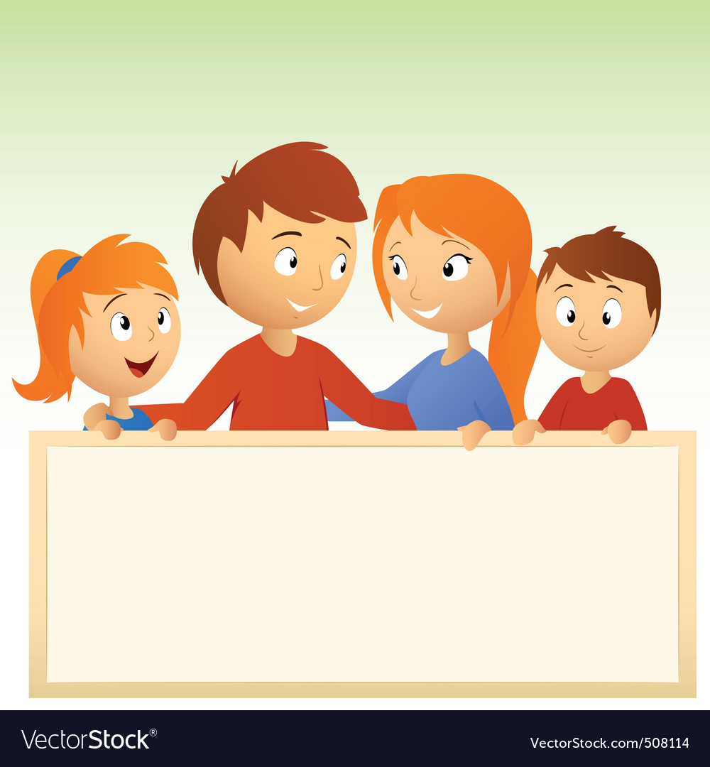 Cartoon family holding blank sign vector | Price: 1 Credit (USD $1)