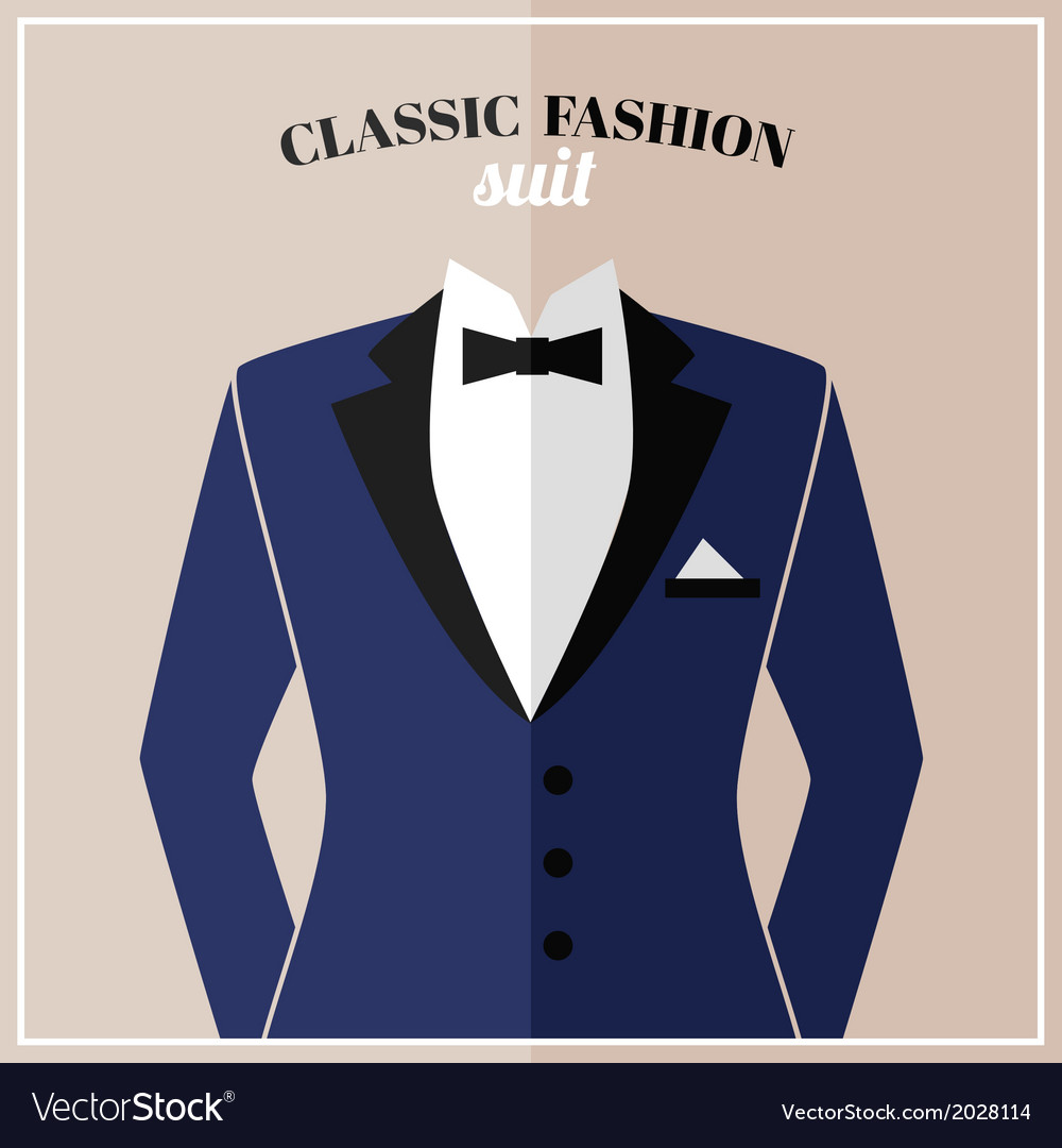 Classic tuxedo suit with bow vector | Price: 1 Credit (USD $1)