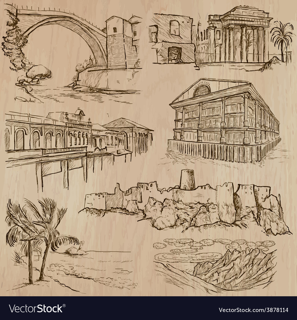 Famous places and architecture - hand drawn vector | Price: 1 Credit (USD $1)