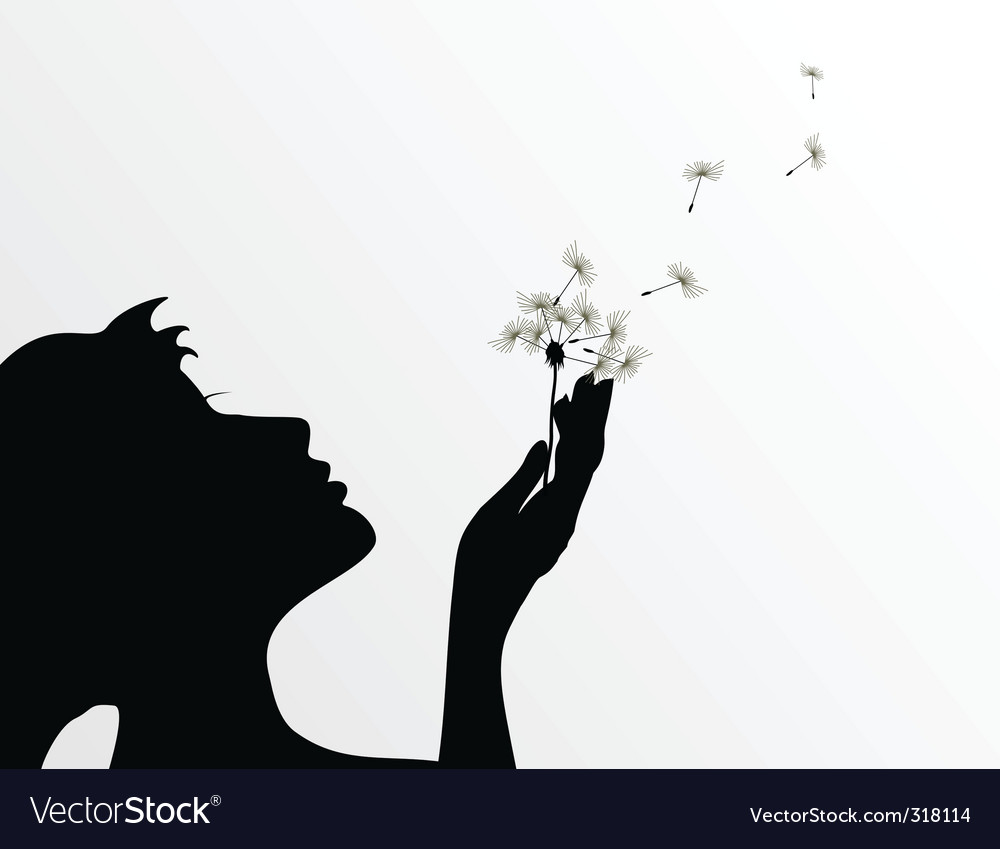 Girl and dandelion vector | Price: 1 Credit (USD $1)