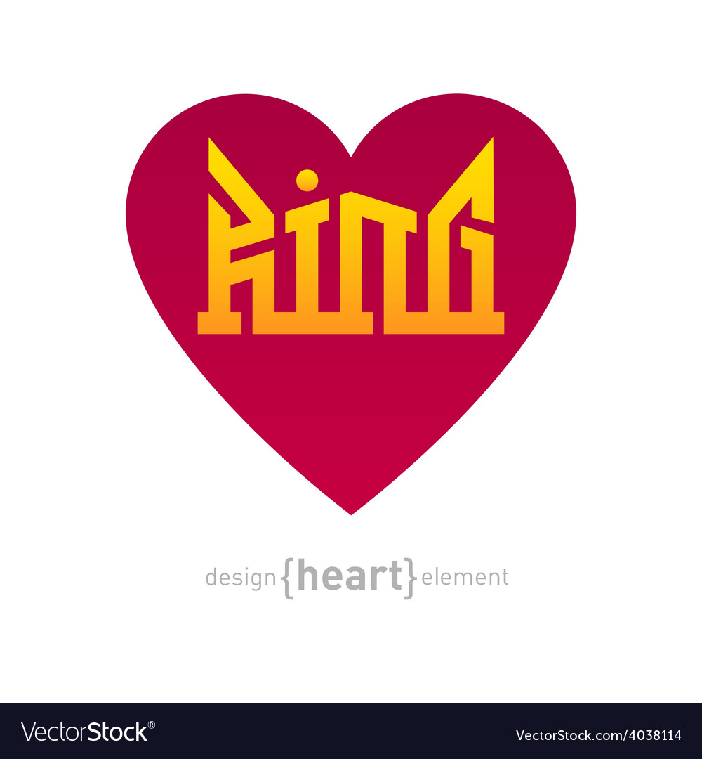 Heart with iscription king vector | Price: 1 Credit (USD $1)