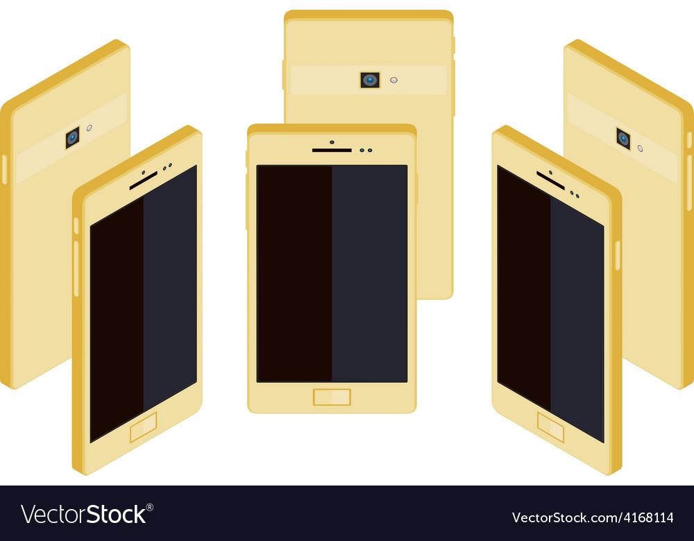 Isometric generic gold smartphone vector | Price: 1 Credit (USD $1)