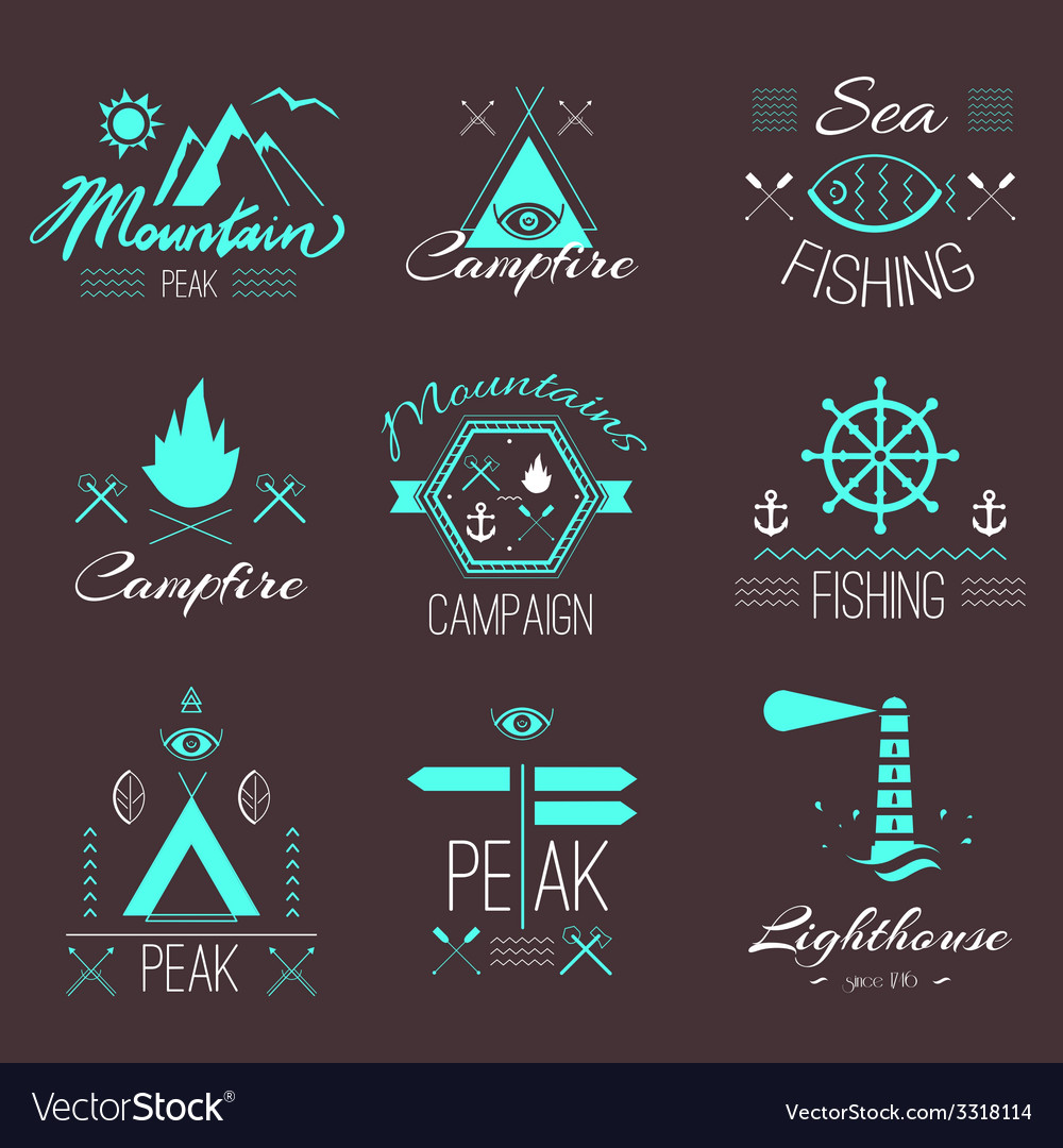 Set of icons on a hike in the mystical retro style vector | Price: 1 Credit (USD $1)