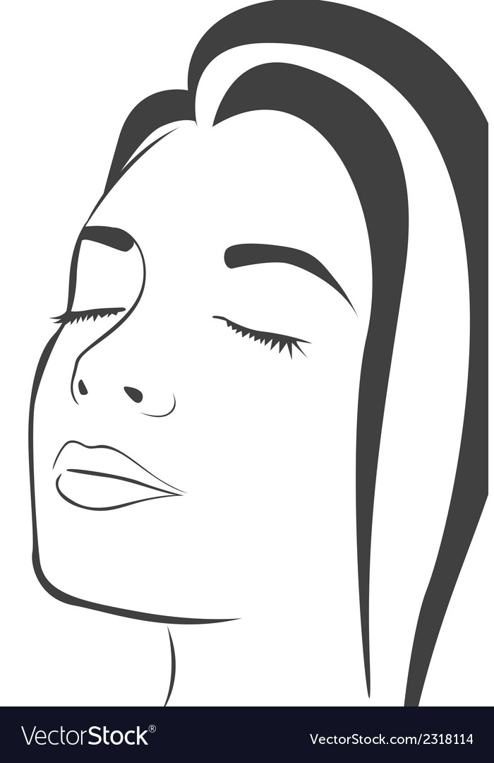 Silhouette lines of the womans face isolated on wh vector | Price: 1 Credit (USD $1)