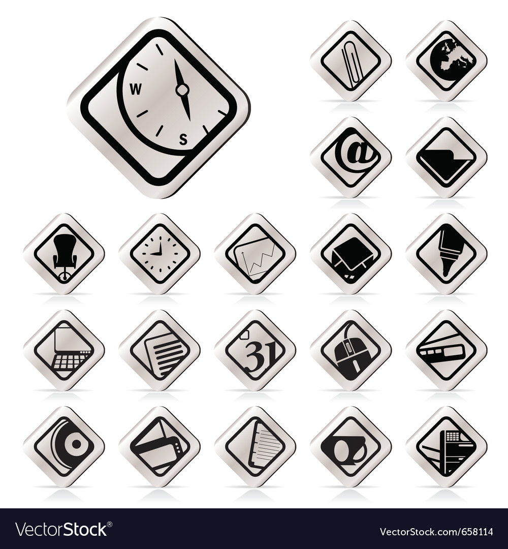 Simple business and office tools icons vector | Price: 1 Credit (USD $1)