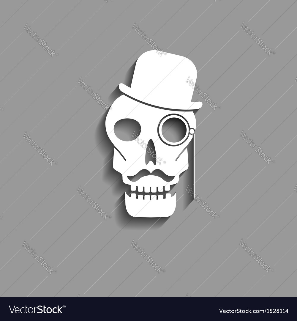 Skull with monocle paper silhouette vector | Price: 1 Credit (USD $1)