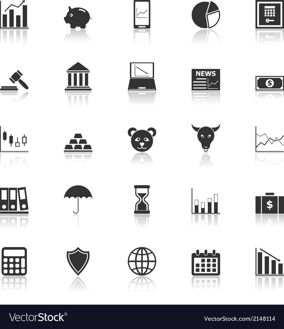 Stock market icons with reflect on white vector | Price: 1 Credit (USD $1)