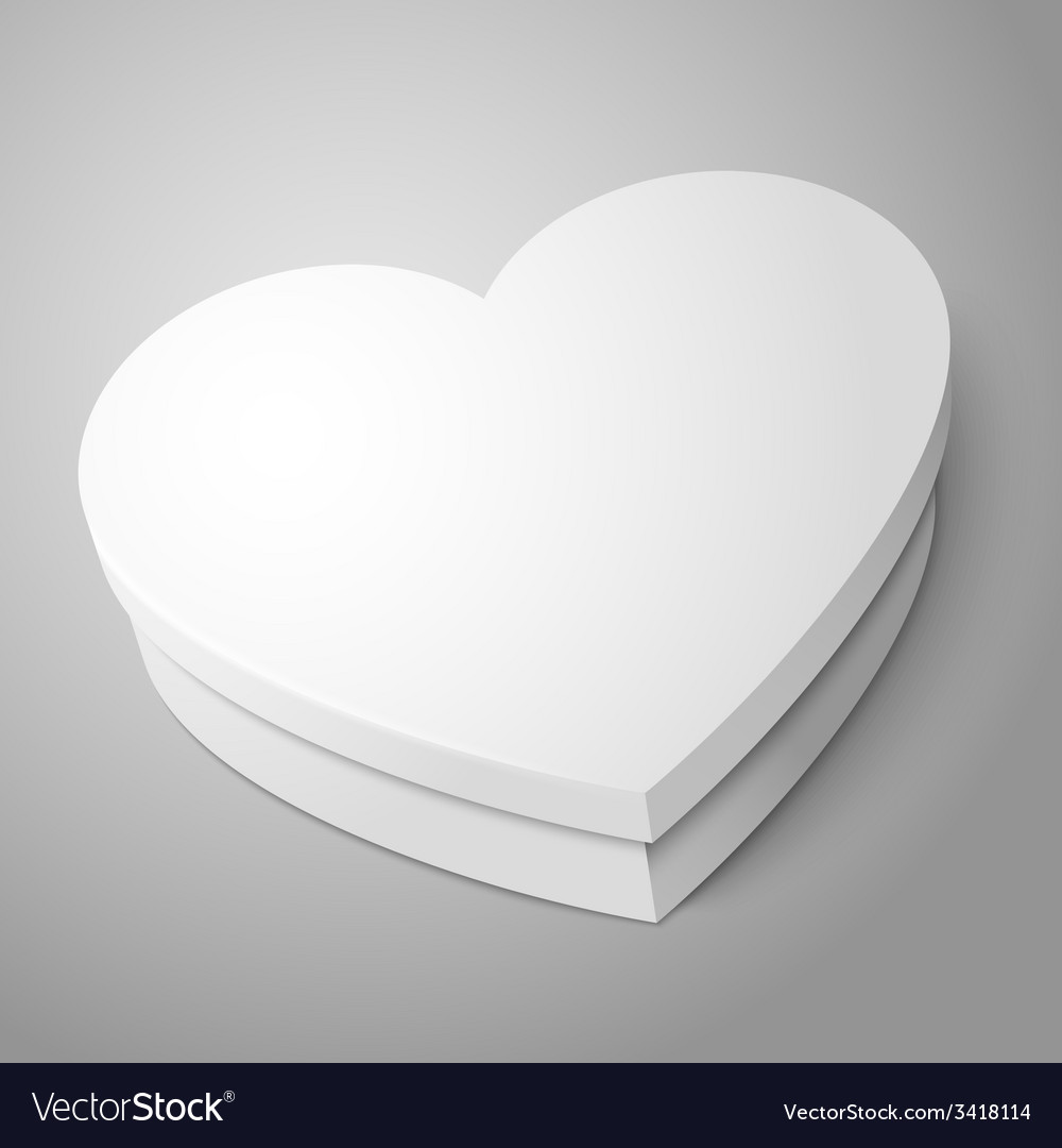 White heart shape box isolated on gray background vector | Price: 1 Credit (USD $1)