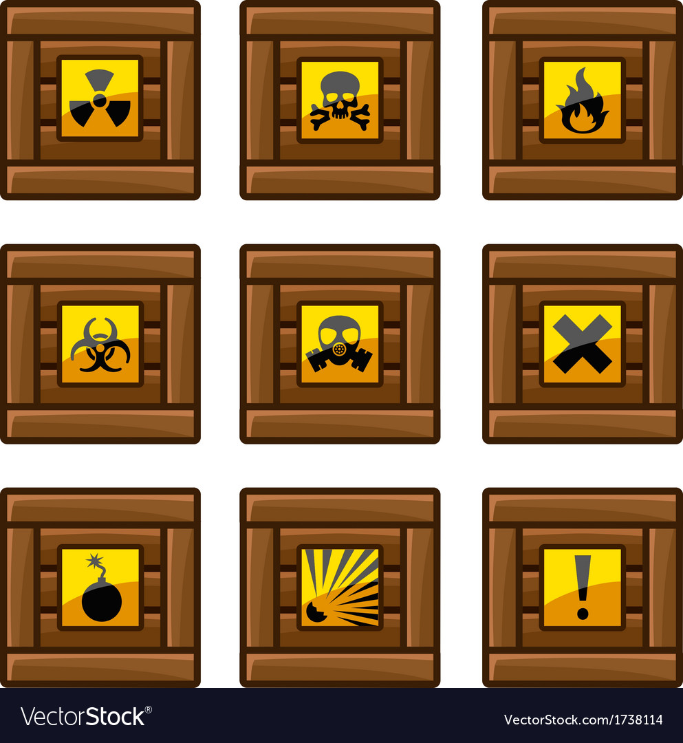 Wooden crates with danger signs vector | Price: 1 Credit (USD $1)