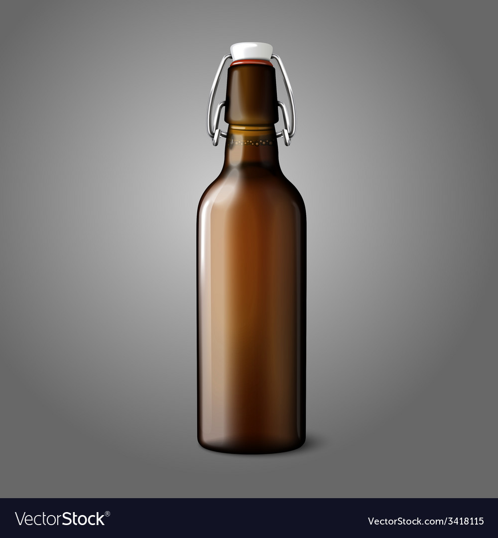 Blank brown realistic retro beer bottle isolated vector | Price: 1 Credit (USD $1)