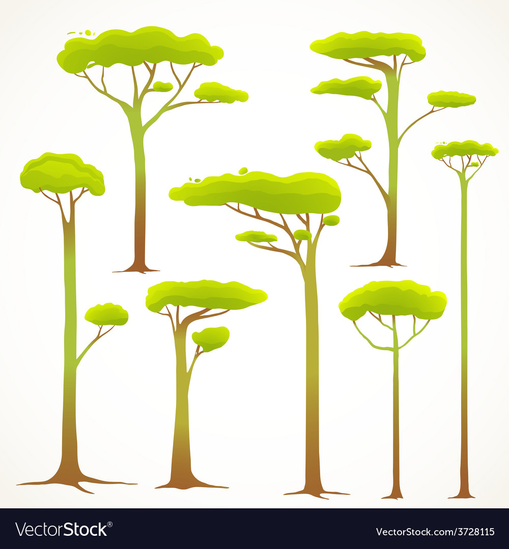 Cartoon trees collection drawing vector | Price: 1 Credit (USD $1)