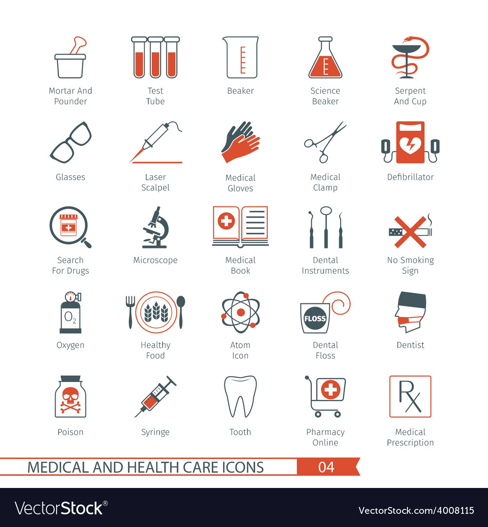 Medical and health care icons set 04 vector | Price: 1 Credit (USD $1)