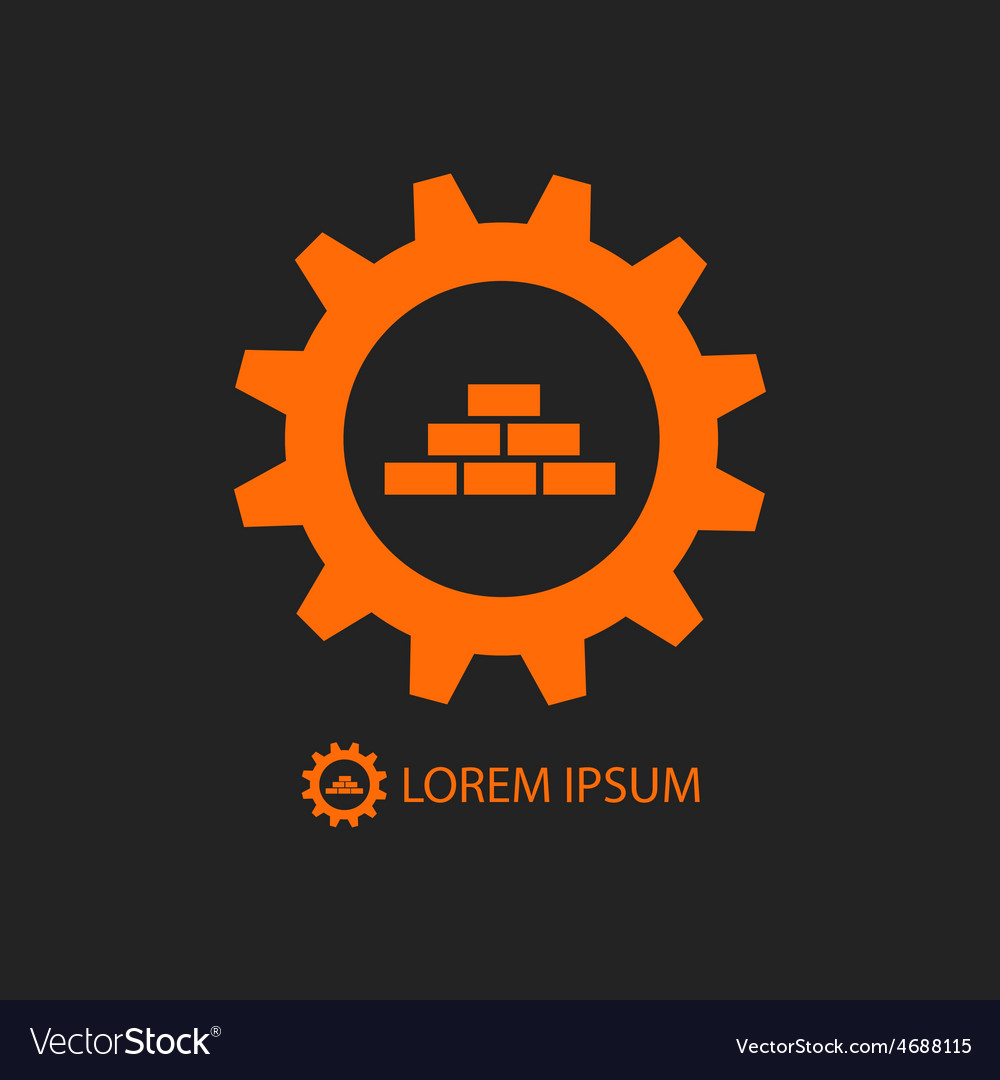 Orange construction logo wih gear wheel and bricks vector | Price: 1 Credit (USD $1)