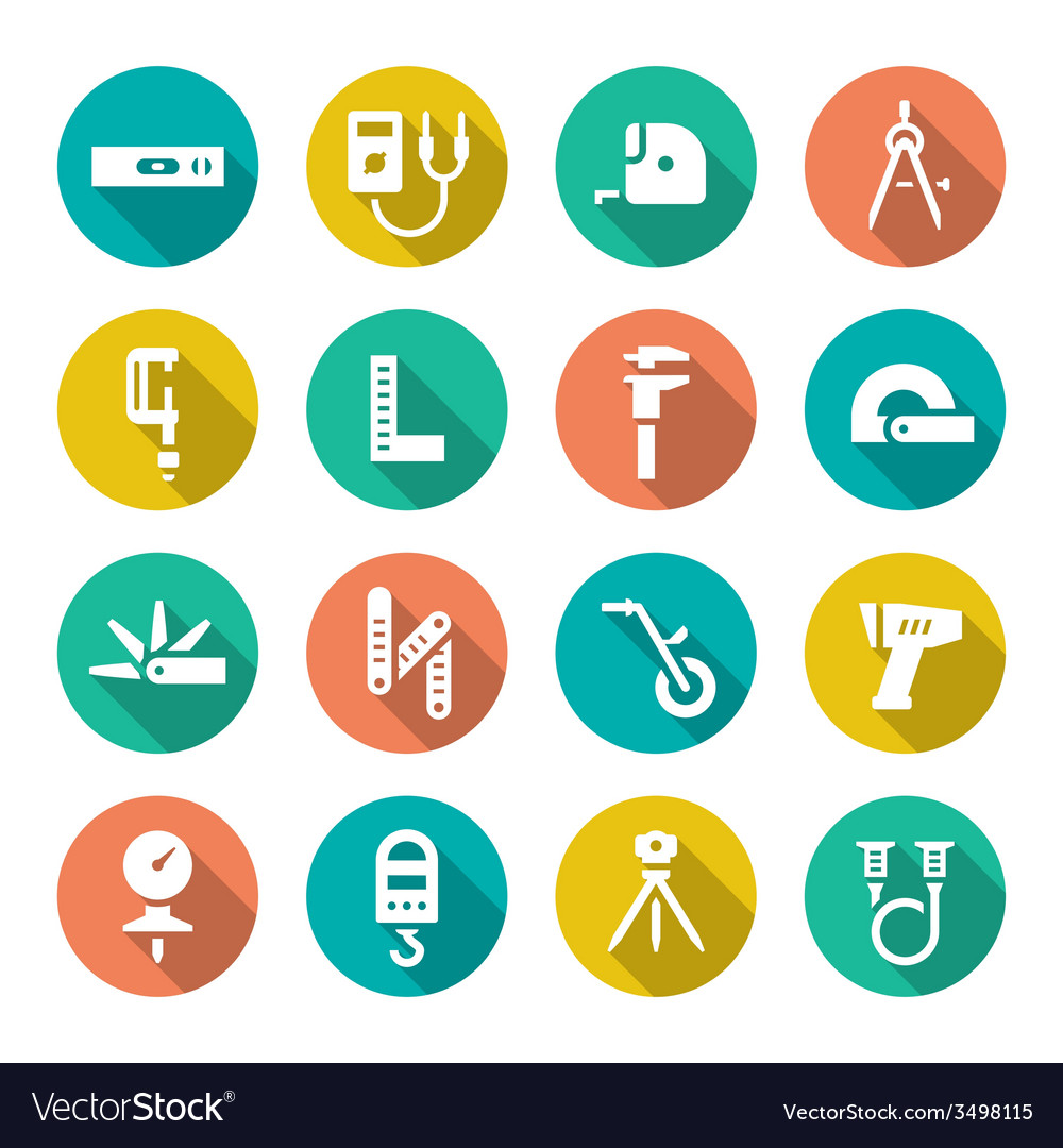 Set flat icons of measuring tools vector | Price: 1 Credit (USD $1)