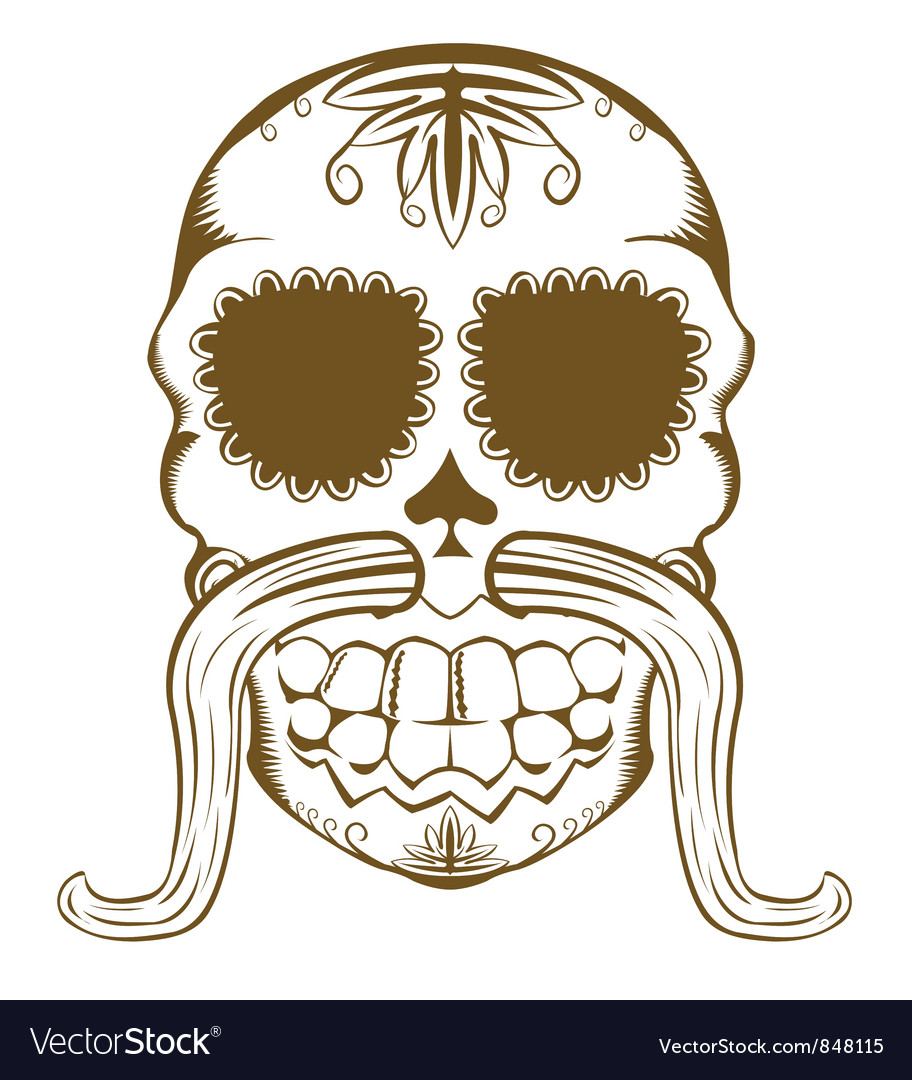 Sugar skull one color vector | Price: 1 Credit (USD $1)