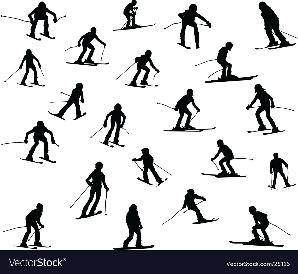 21 skiers vector | Price: 1 Credit (USD $1)