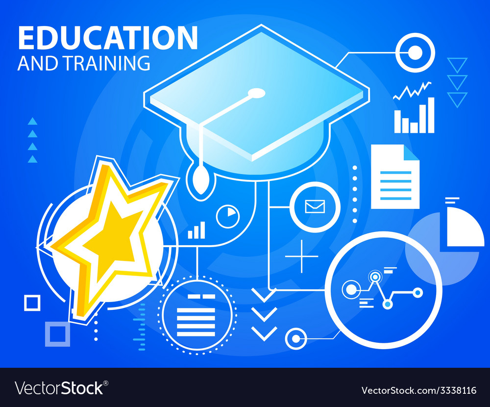 Bright star of education and training on blu vector | Price: 3 Credit (USD $3)