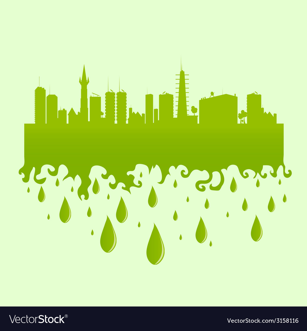 City green with water drop vector | Price: 1 Credit (USD $1)