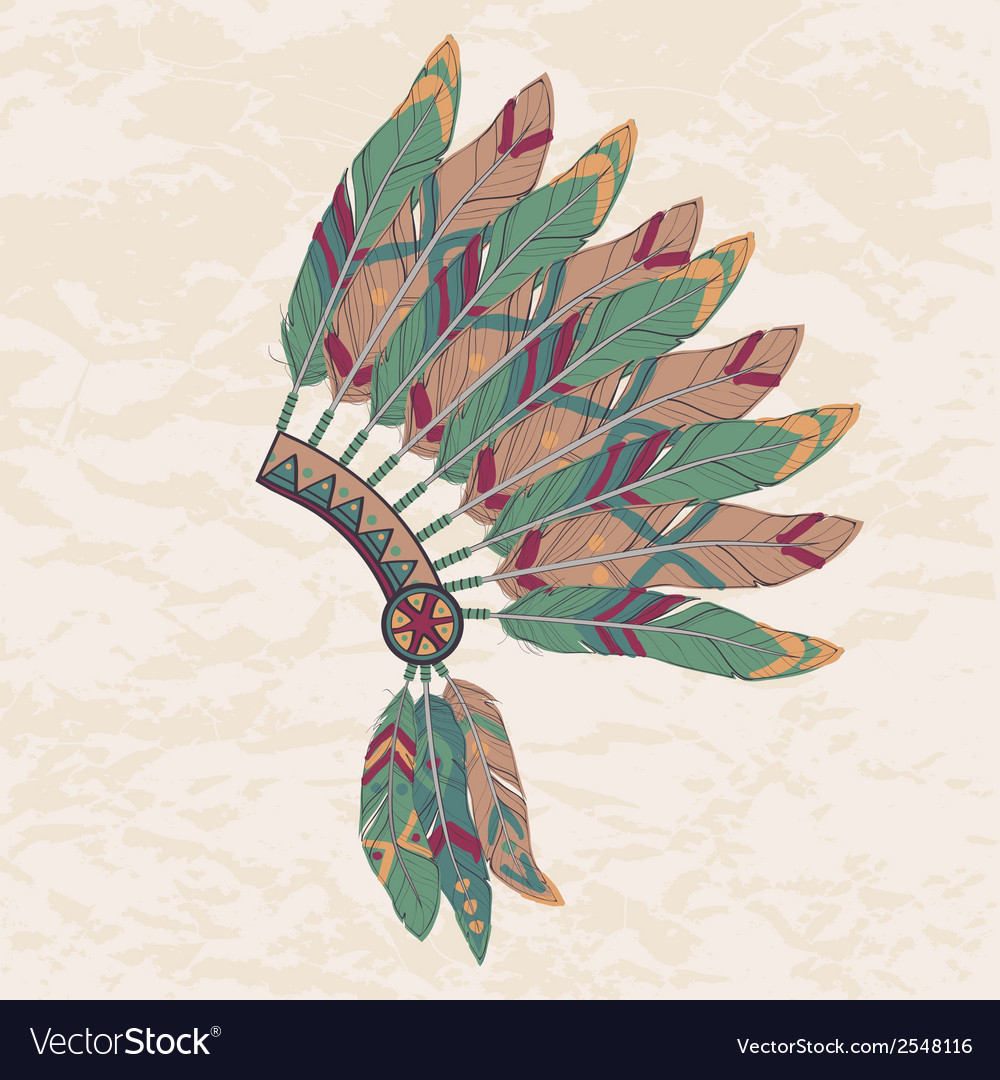 Colorful of native american indian chief hea vector | Price: 1 Credit (USD $1)