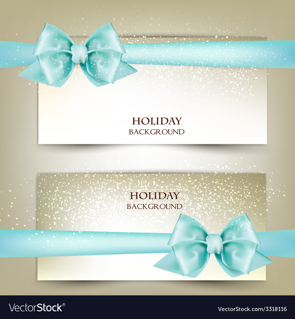 Elegant christmas greeting cards with blue bows vector | Price: 3 Credit (USD $3)