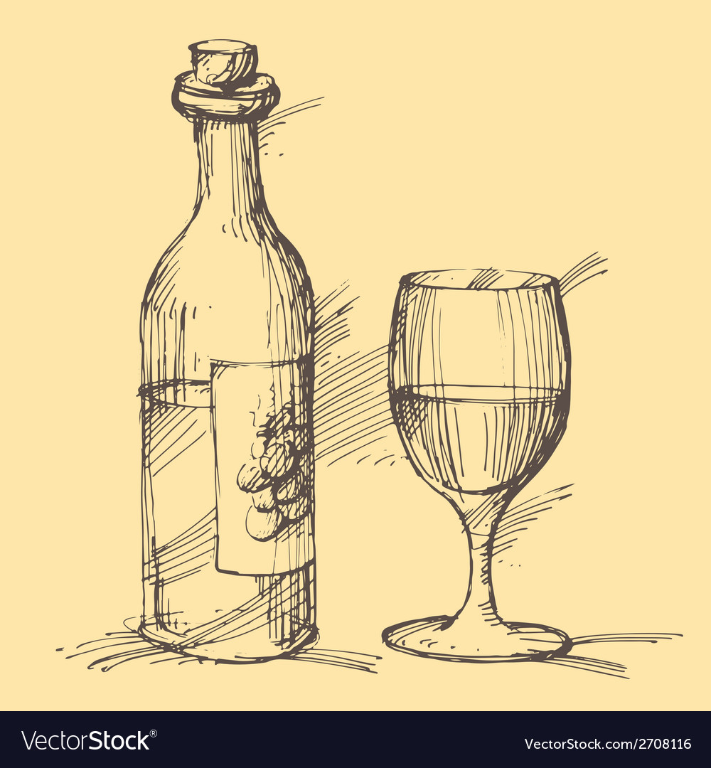 Hand drawn of a bottle of wine with a glass vector | Price: 1 Credit (USD $1)