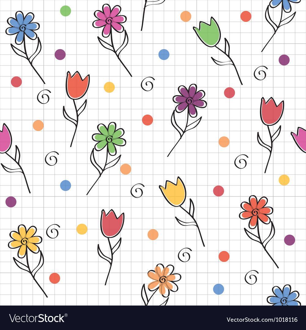 Hand drawn seamless pattern with funny colored vector | Price: 1 Credit (USD $1)