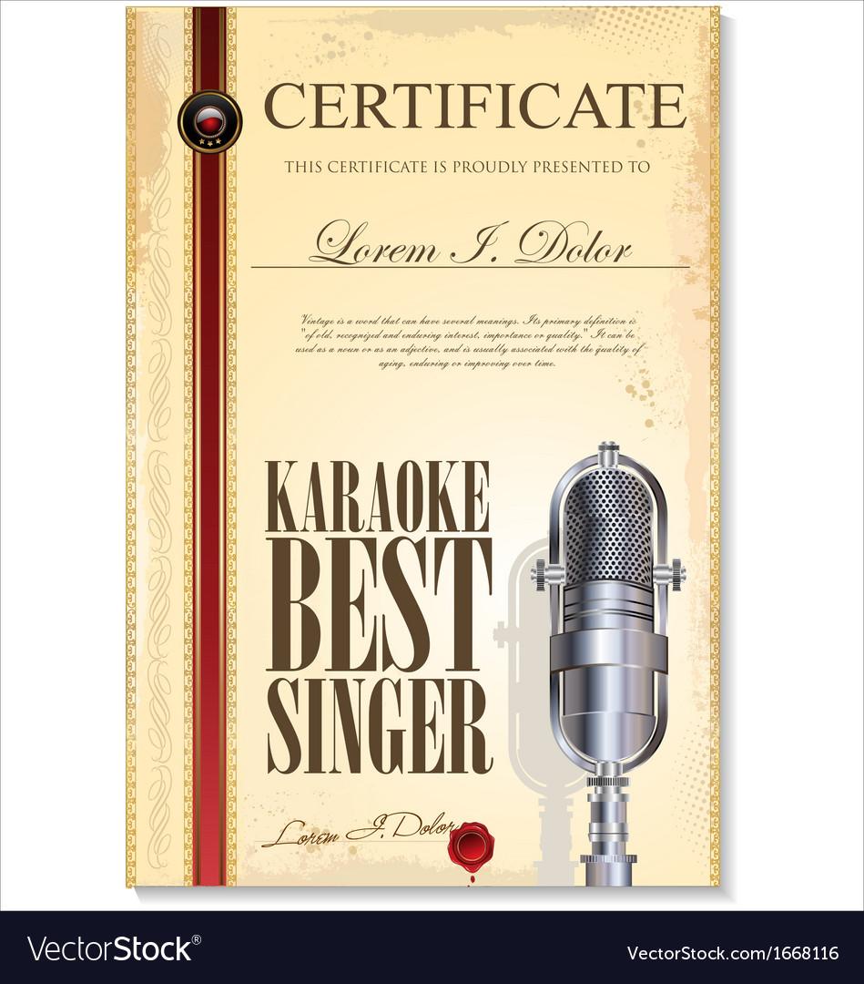 Karaoke certificate template vector | Price: 1 Credit (USD $1)
