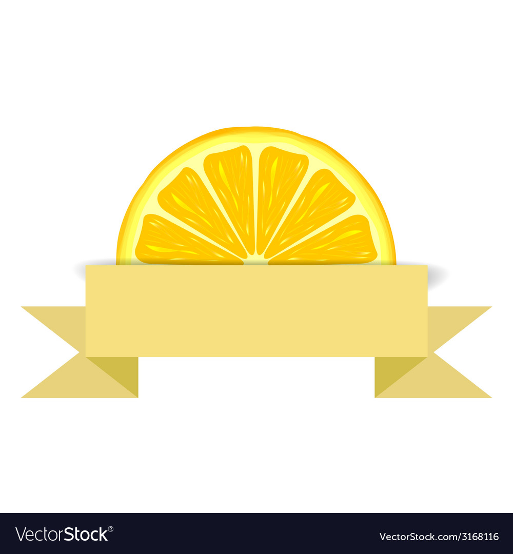 Lemon slice with paper banner vector | Price: 1 Credit (USD $1)