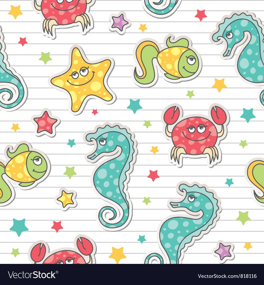 Pattern of sea creatures vector | Price: 1 Credit (USD $1)
