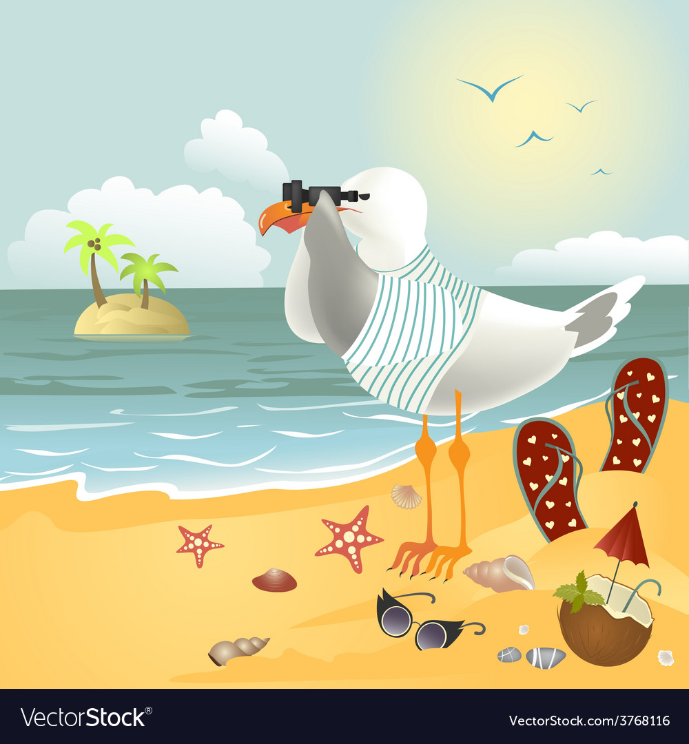 Seagull on the beach looking through binoculars vector | Price: 1 Credit (USD $1)
