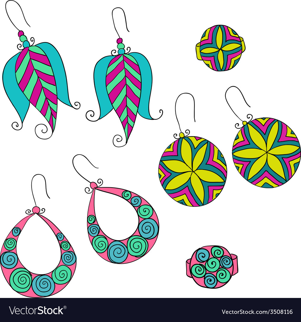 Set of different female earrings vector | Price: 1 Credit (USD $1)