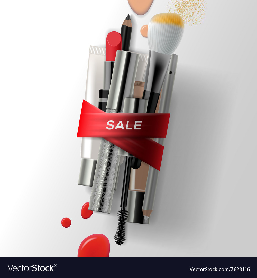 Various makeup brushes and cosmetics with red vector | Price: 1 Credit (USD $1)
