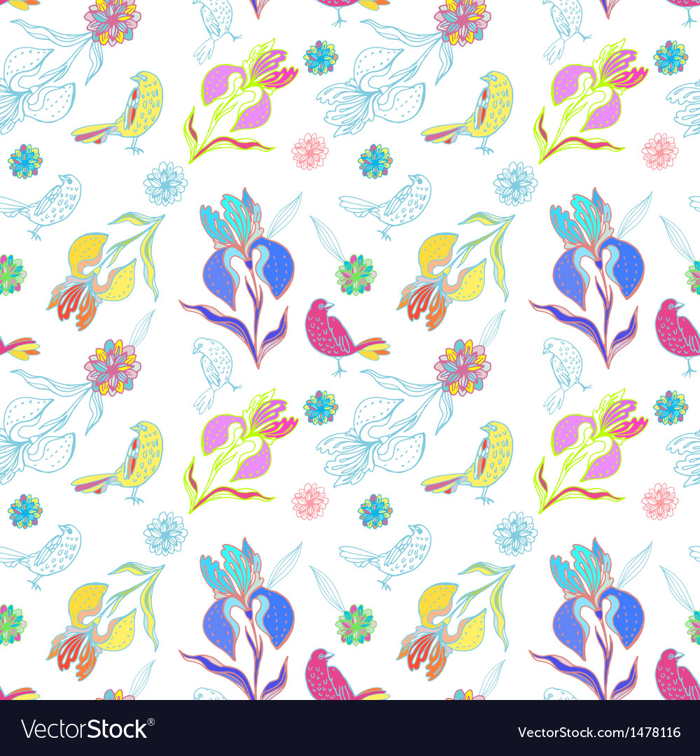Vintage floral seamless pattern iris and birds vector | Price: 1 Credit (USD $1)