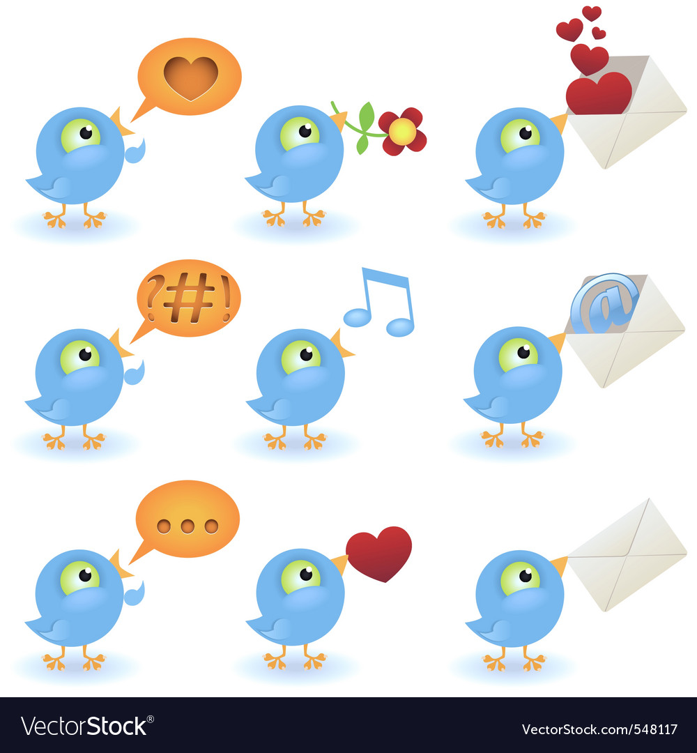 Cartoon birds icon set vector | Price: 1 Credit (USD $1)