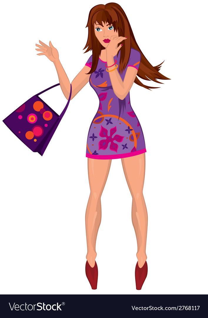 Cartoon young woman in mini purple dress with bag vector | Price: 1 Credit (USD $1)