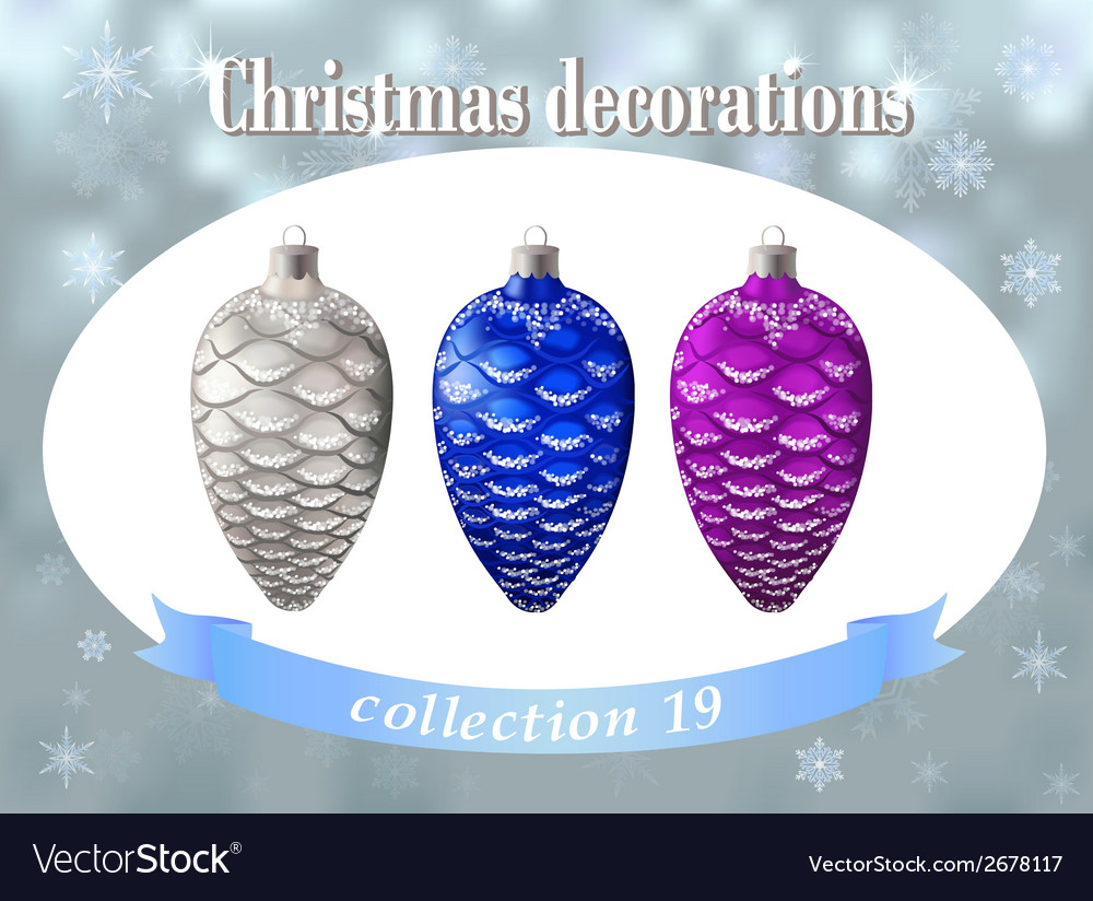 Christmas decorations collection of silver blue vector | Price: 1 Credit (USD $1)