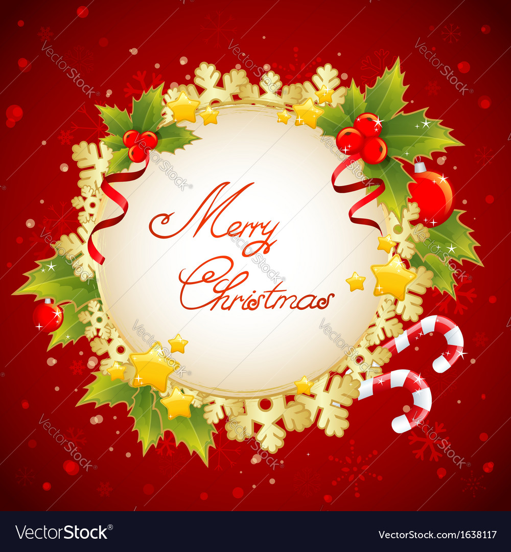 Christmas decorative golden congratulation card vector | Price: 1 Credit (USD $1)