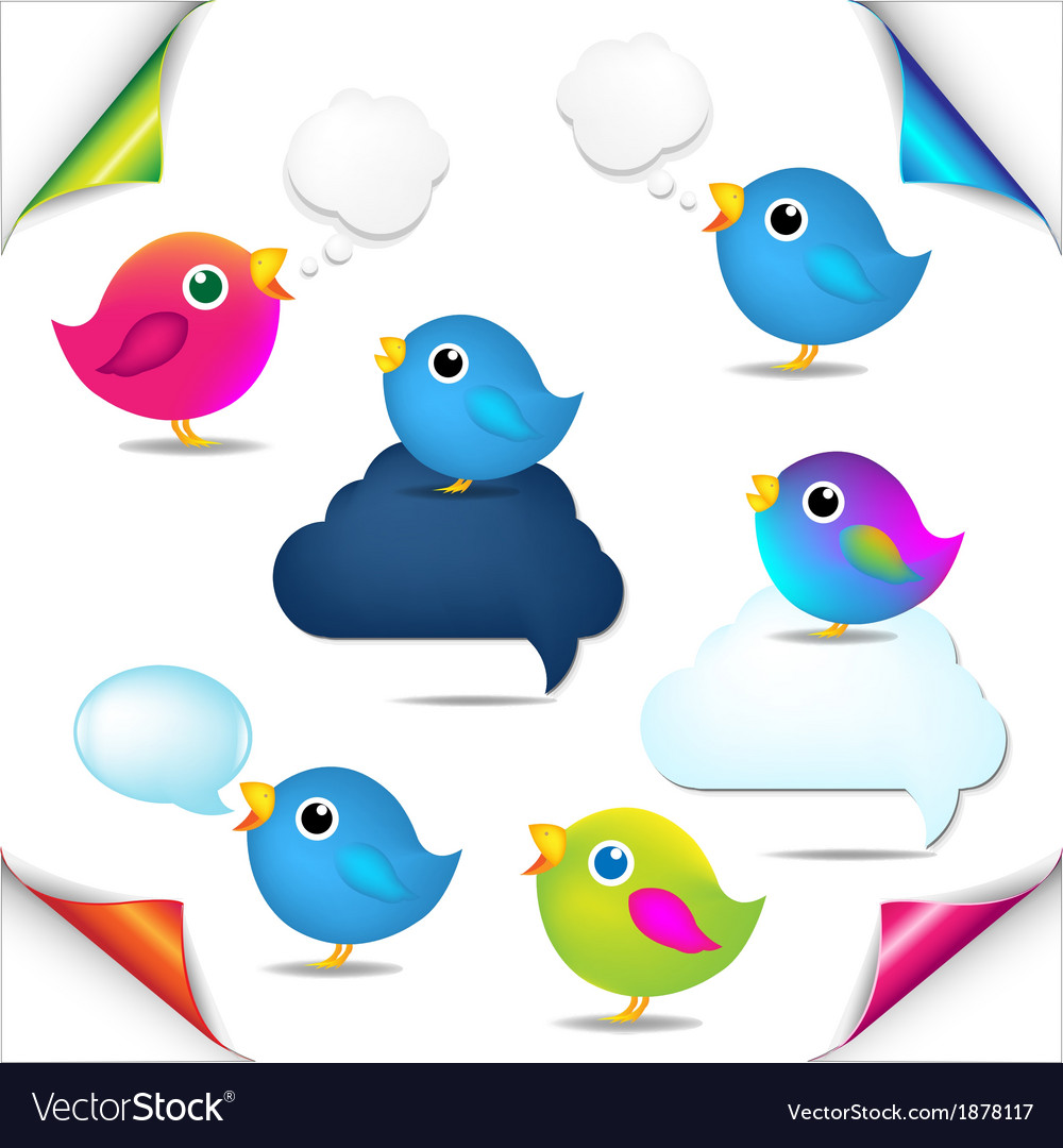 Color birds set with corners and speech bubble vector | Price: 1 Credit (USD $1)