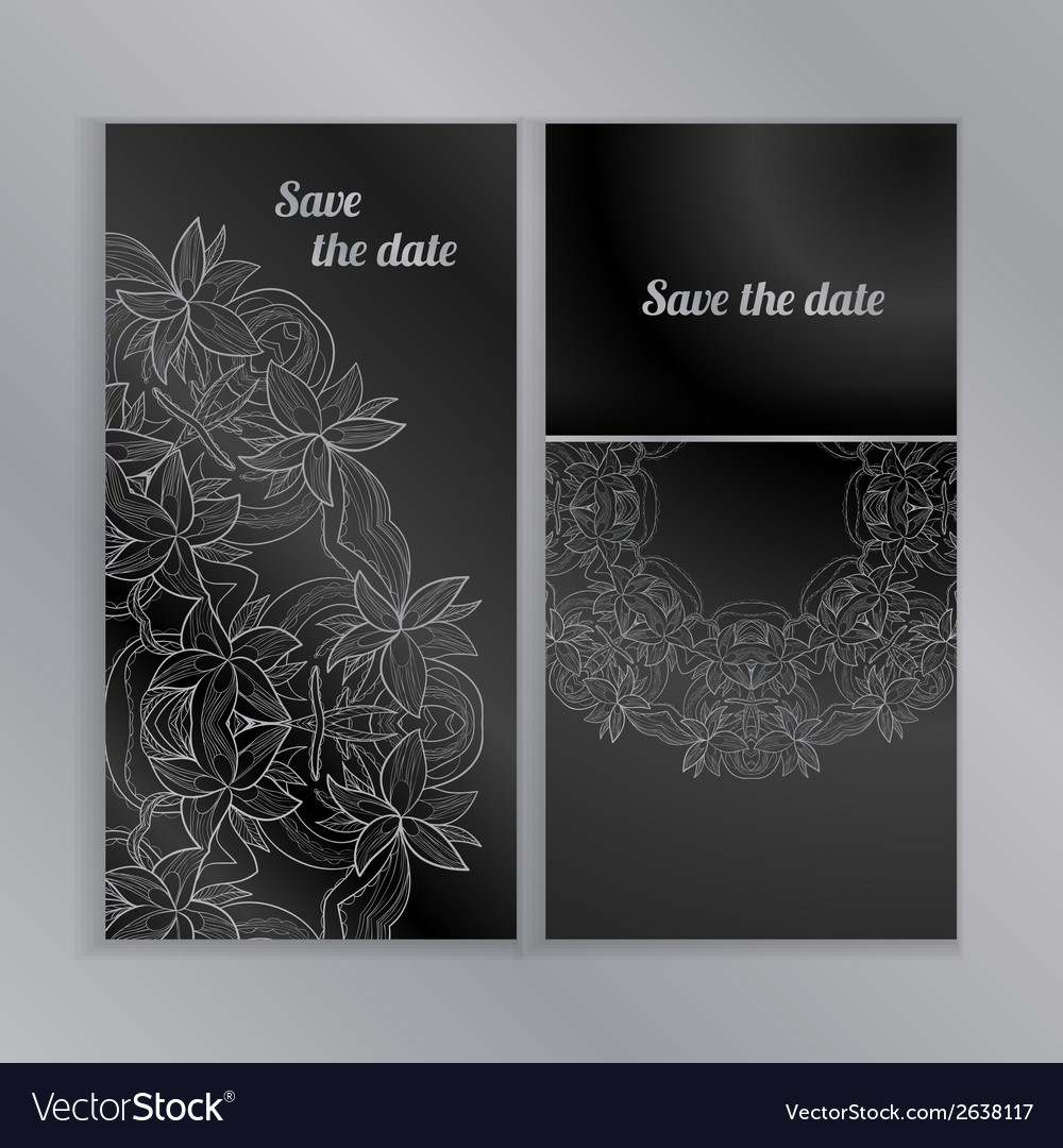 Greeting cards with lace hand-drawn ornament vector | Price: 1 Credit (USD $1)