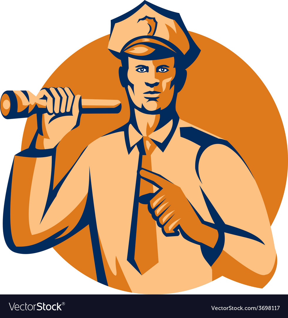 Policeman flashlight torch pointing retro vector | Price: 1 Credit (USD $1)