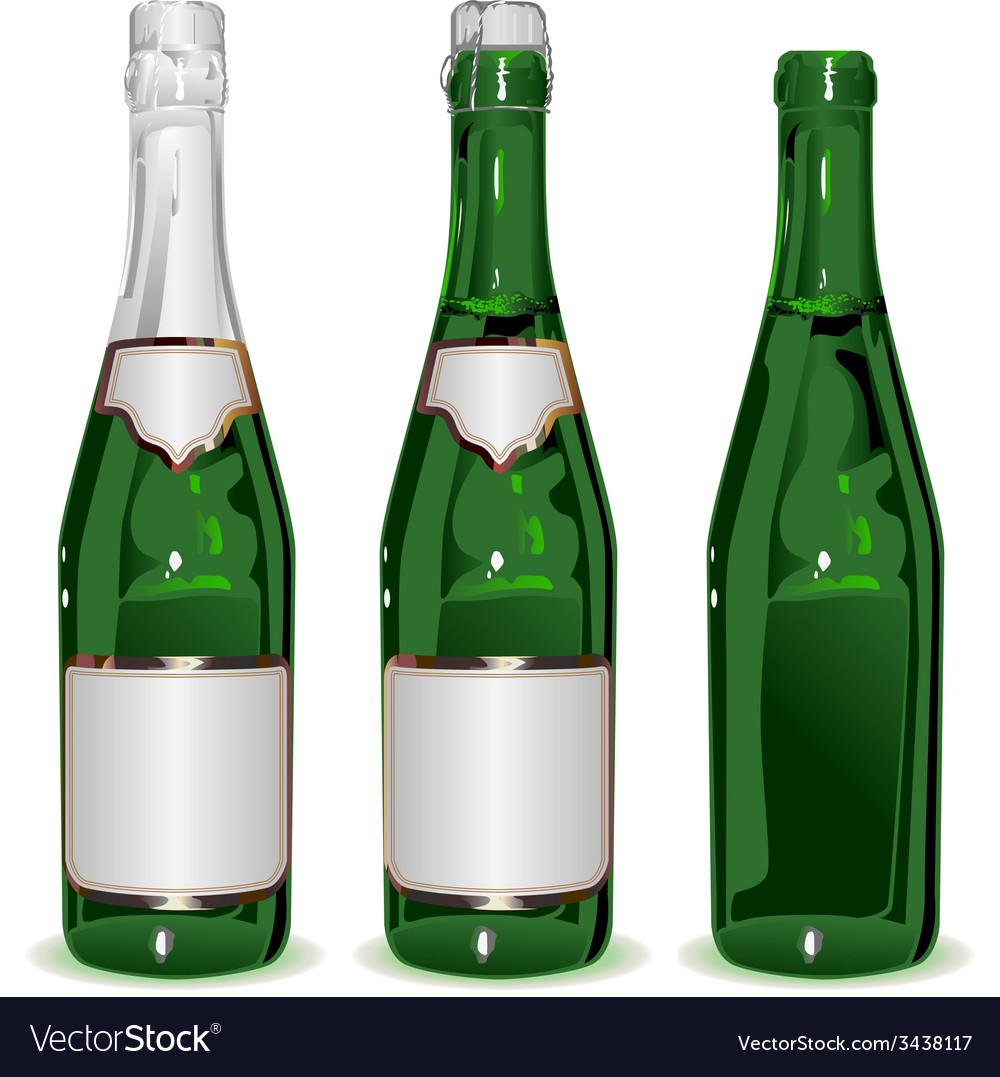 Set bottle of champagne vector | Price: 1 Credit (USD $1)
