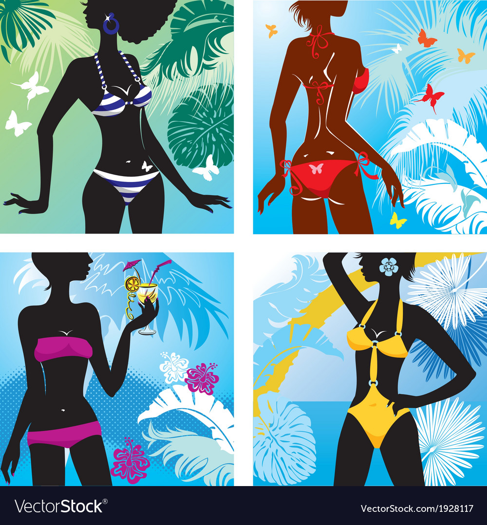 Set of woman silhouettes in bikini swimwear vector | Price: 1 Credit (USD $1)