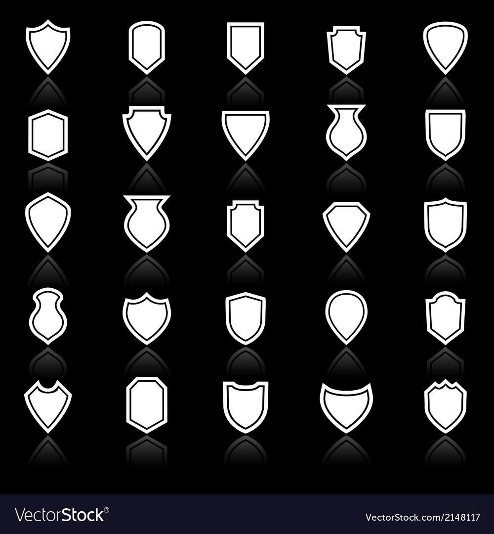 Shield icons with reflect on black background vector | Price: 1 Credit (USD $1)