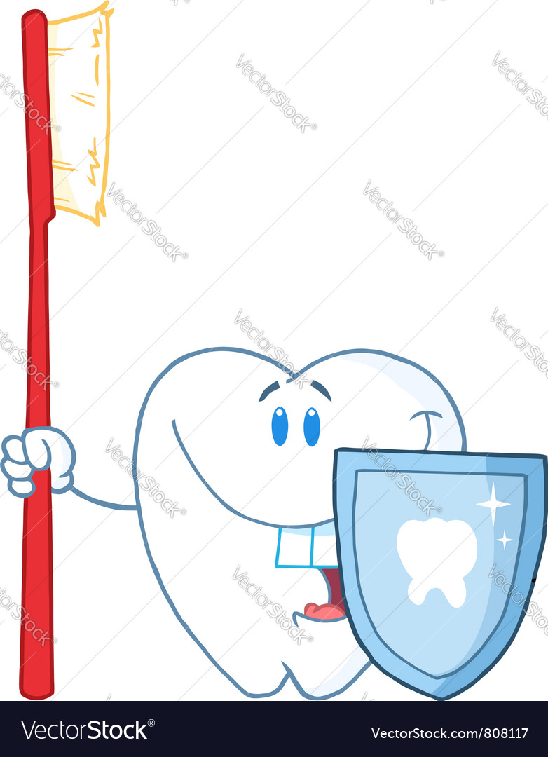 Smiling tooth with toothbrush and shield vector | Price: 1 Credit (USD $1)