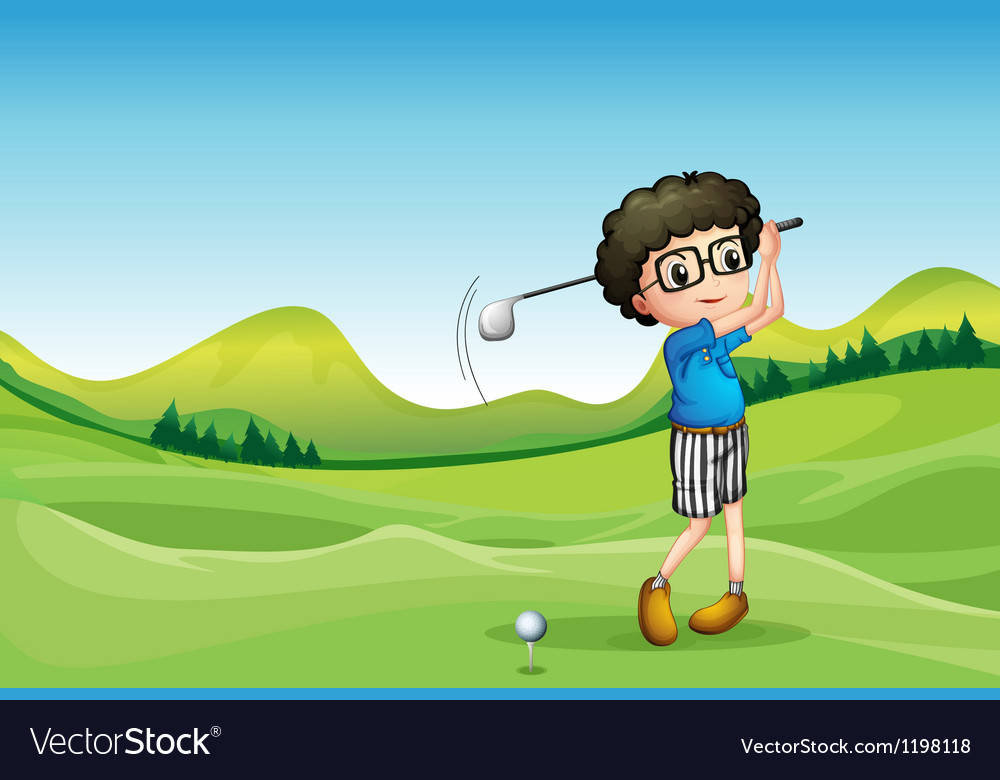 A boy playing golf vector | Price: 1 Credit (USD $1)