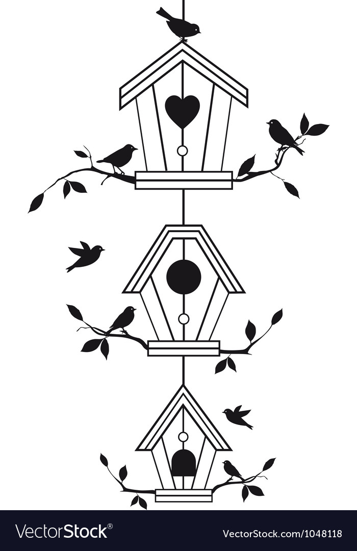 Bird houses with tree branches vector | Price: 1 Credit (USD $1)